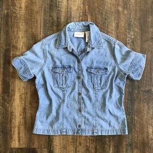 Vintage Liz Claiborne Button Down Denim Crop Top